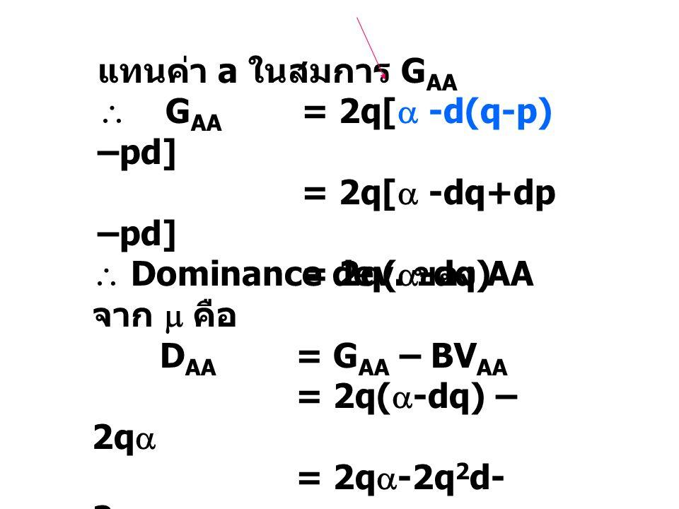 แทนค่า a ในสมการ GAA  GAA = 2q[ -d(q-p) –pd] = 2q[ -dq+dp –pd] = 2q(-dq)  Dominance dev. ของ AA จาก  คือ.